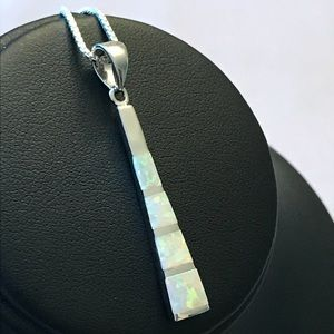 Jewelry - Sterling Silver White Opal Bar Necklace